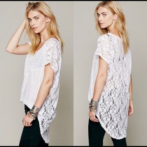 Free People Daydream Striped Lace White Tunic S